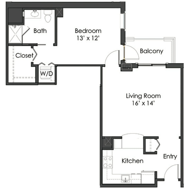 The Levin Palace - Sardinia Floor Plan - Spacious 1 Bedroom / 1 Bath