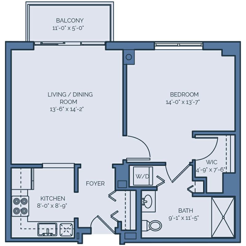 Tradition - Azalea Floor Plan - Spacious 1 Bedroom / 1 Bath