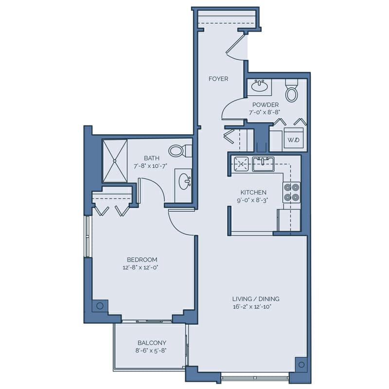 Tradition - Gardenia Floor Plan - Spacious 1 Bedroom / 1.5 Bath