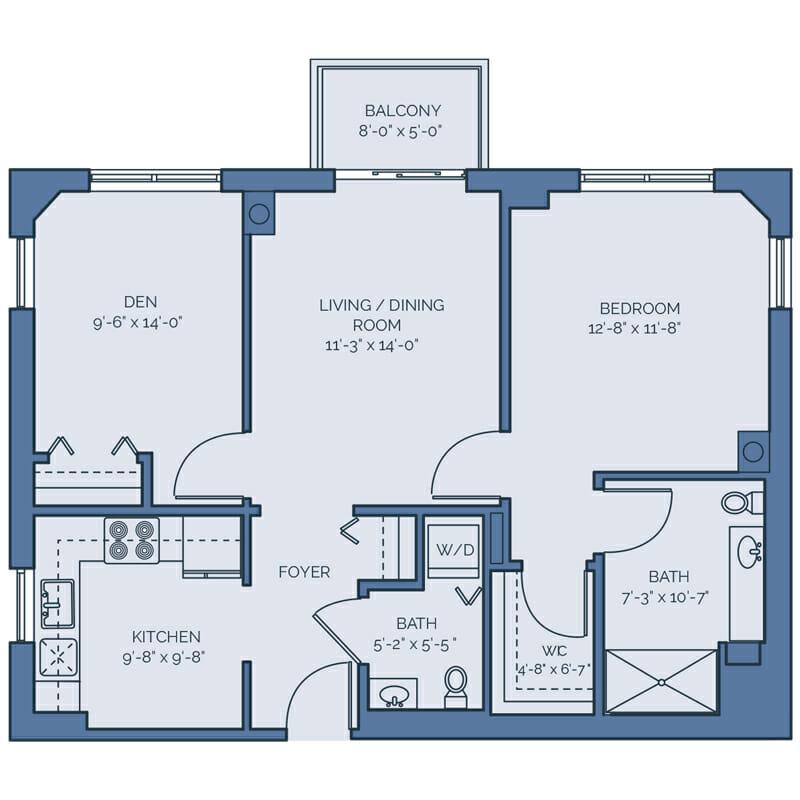 Tradition - Lily Floor Plan - Spacious 1 Bedroom / 1.5 Nath / Den