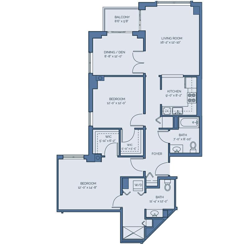 Tradition - Orchid Floor Plan - Spacious 2 Bedroom / 2 Bath / Den
