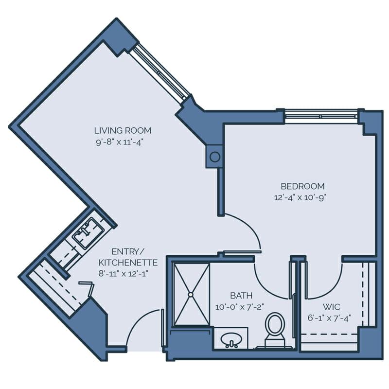 Tradition - Queen Palm Floor Plan - Spacious 1 Bedroom / 1 Bath