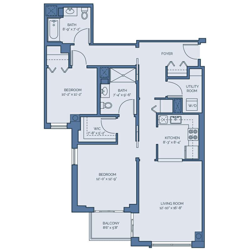 Tradition - Tulip Floor Plan - Spacious 2 Bedroom / 2 Bath / Utility