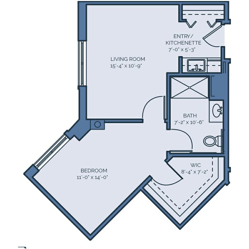 Tradition - Washington Palm Floor Plan - Spacious 1 Bedroom / 1 Bath