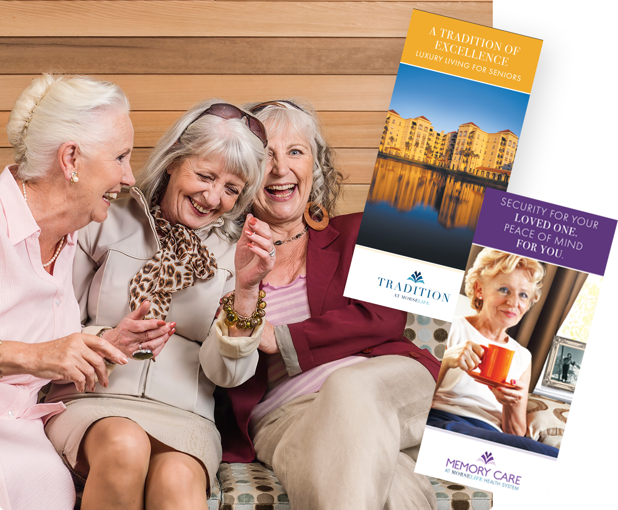 Assisted Living and Memory Care brochures over three senior ladies having fun enjoying a good laugh