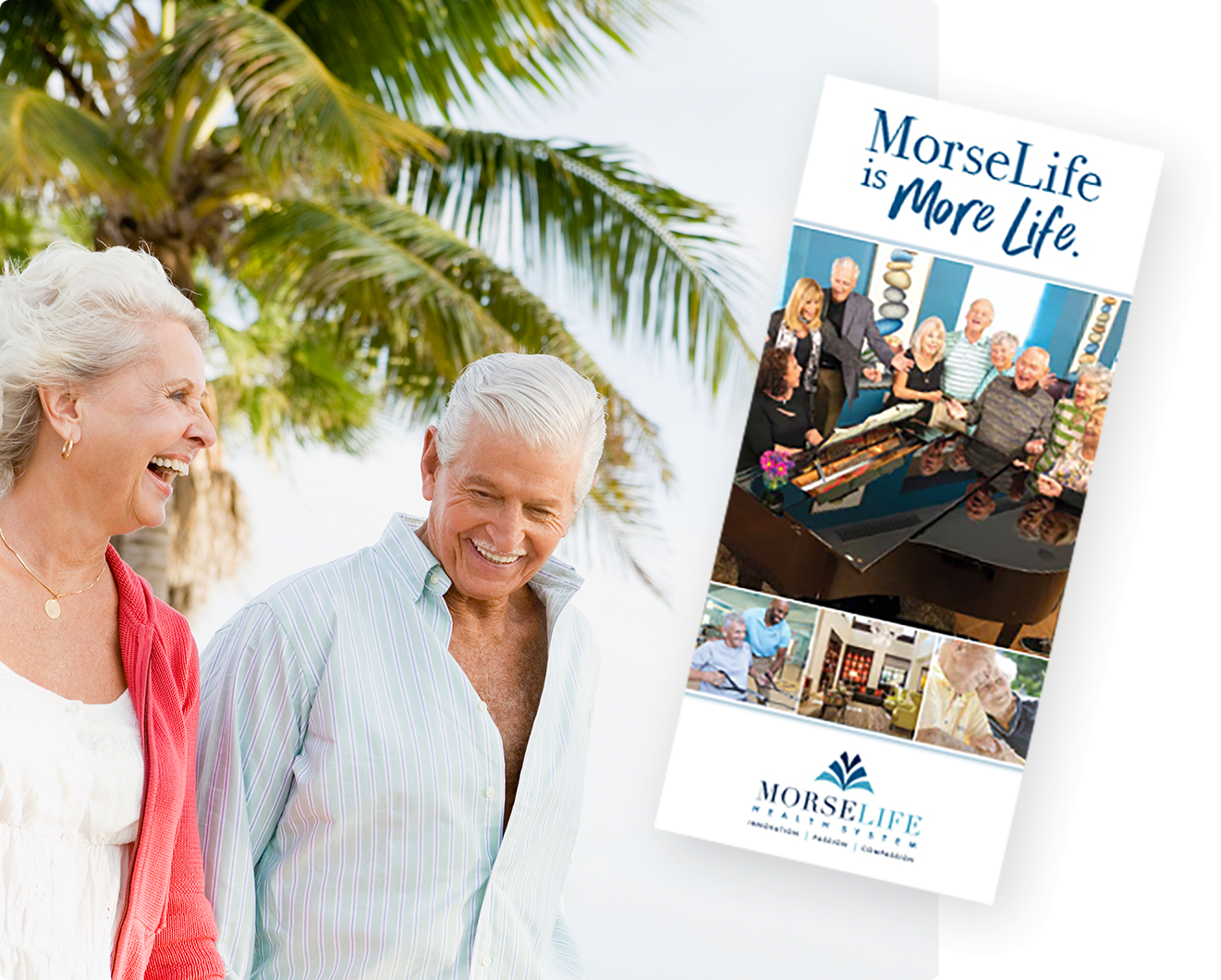 Overall MorseLife brochure with senior couple walking in the South Florida Sunshine.