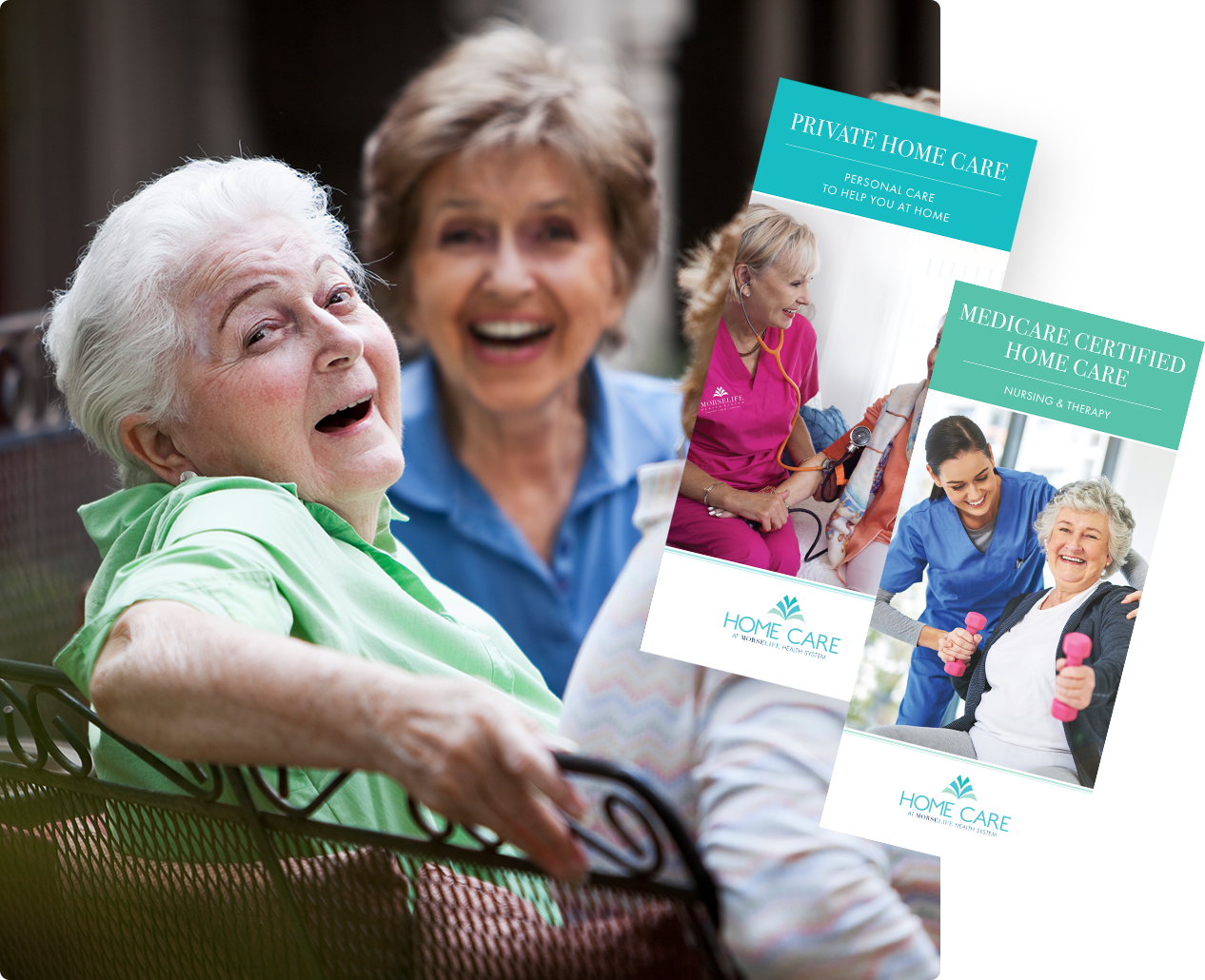 Home Health Care Brochure with senior sitting at home with aide