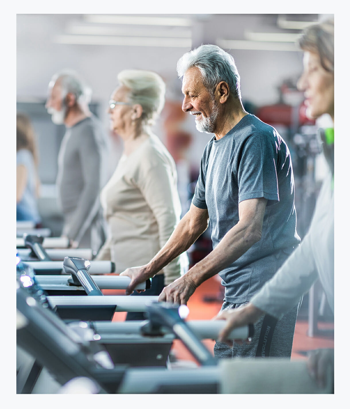 Elderly Short-Term Rehab patients engaging in psychical therapies at state-of-the-art rehab gym, NASA anti-gravity treadmill, innovative rehabilitation programs