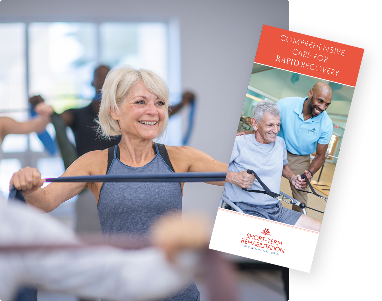 Short-Term Rehabilitation brochure with senior woman engaging in physical therapy activities in spacious, state-of-the-art rehab gym