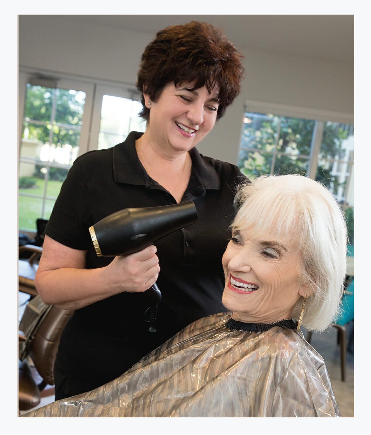 Resident from Assisted Living getting hair care at Tradition Salon Spa