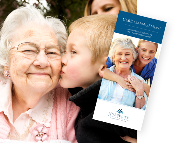 Care Management brochure with cover image senior grandmother with grandson enjoying care management services