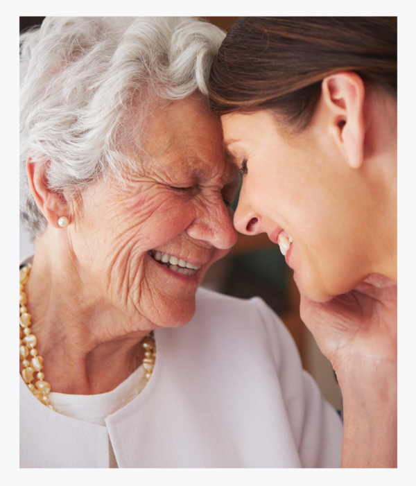 Senior client showing gratitude to care manager social worker