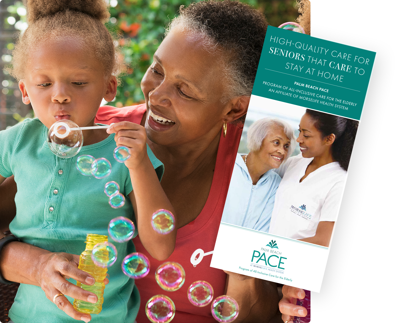 PACE brochure with elderly African-American woman with granddaughter, maximizing independence at home