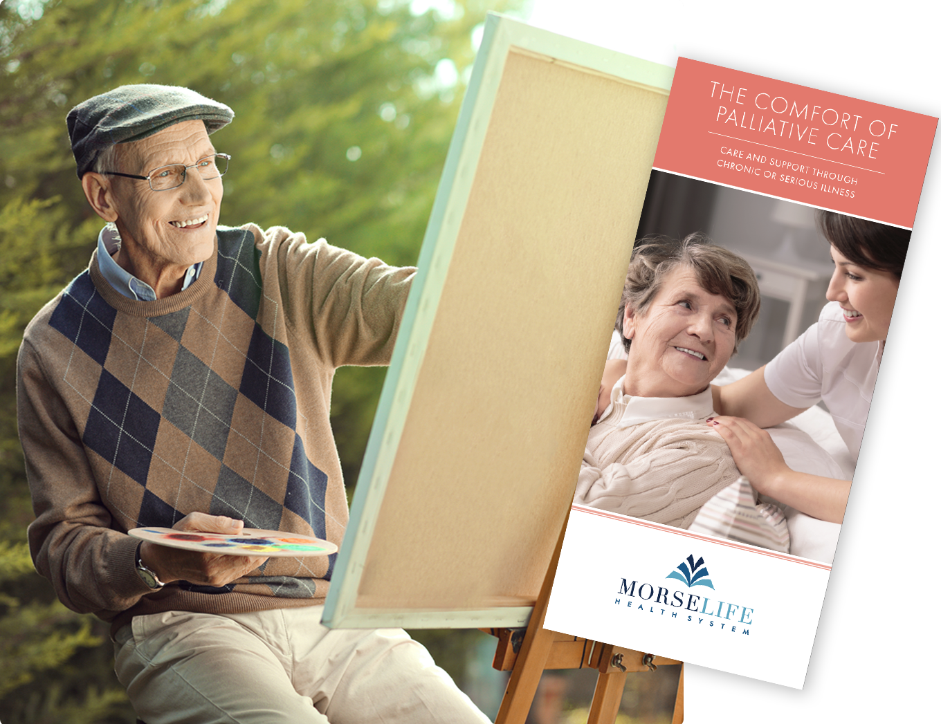 Palliative Care brochure with senior man painting, art therapy, occupational therapy, holistic treatments, palliative care
