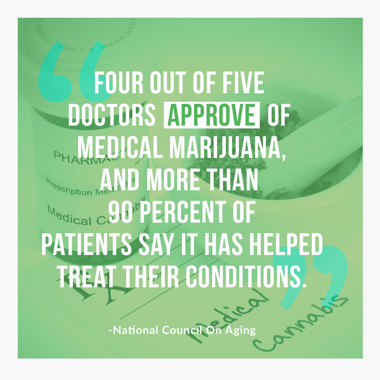 Four out of five doctors approve of medical marijuana, and more than 90 percent of patients say it has helped treat their conditions - national council on aging
