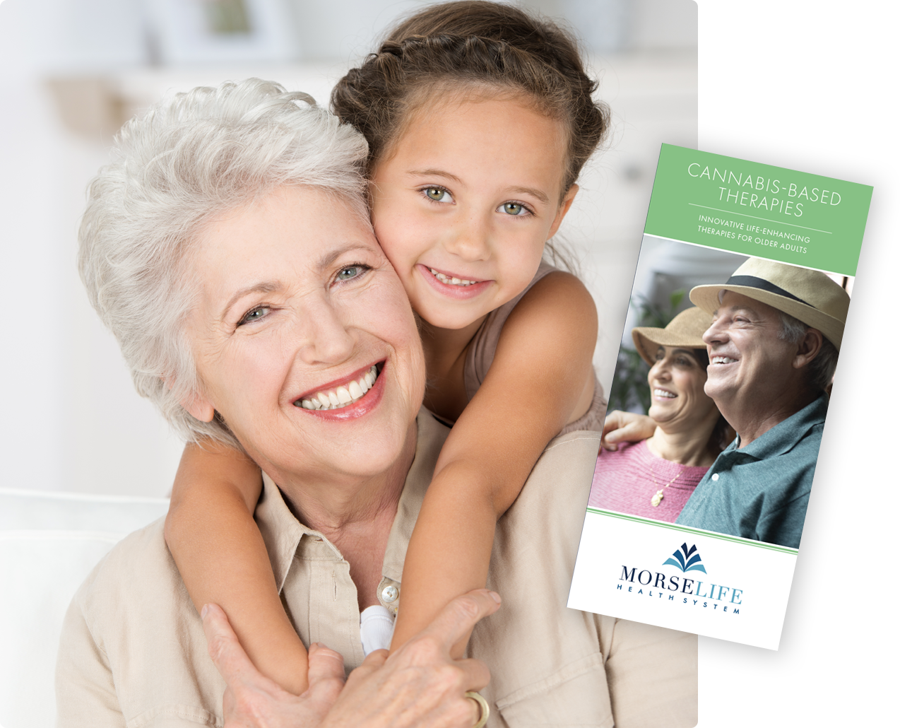 Cannabis-based therapies treatment brochure cover image with patient and grandchild